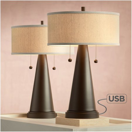 Franklin Iron Works Mid Century Modern Accent Table Lamps Set of 2 with Hotel Style USB Port Bronze Metal Natural Linen Drum Shade for Bedroom