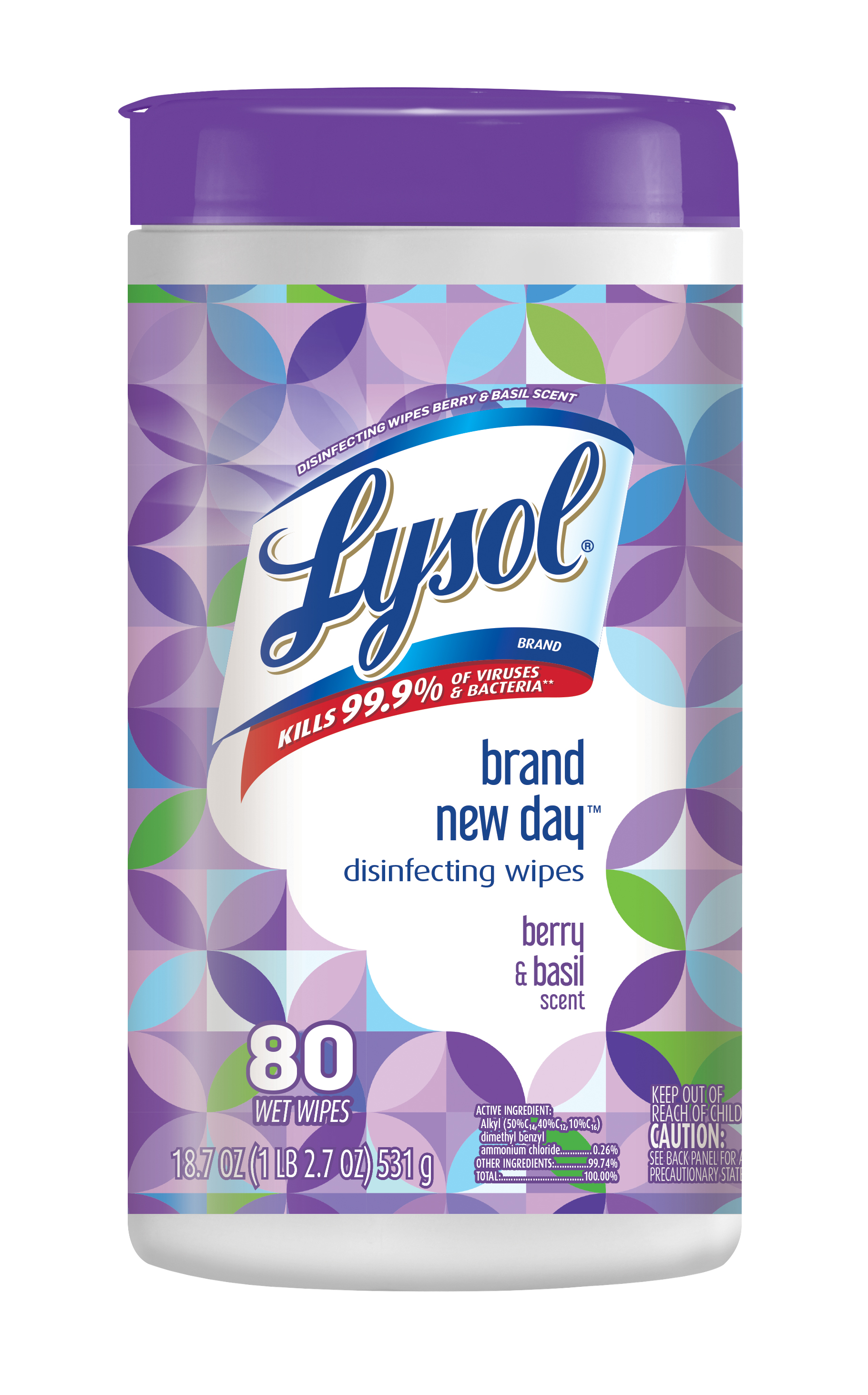 Lysol Disinfecting Wipes, Brand New Day, Berry & Basil, 80ct, Cleaner