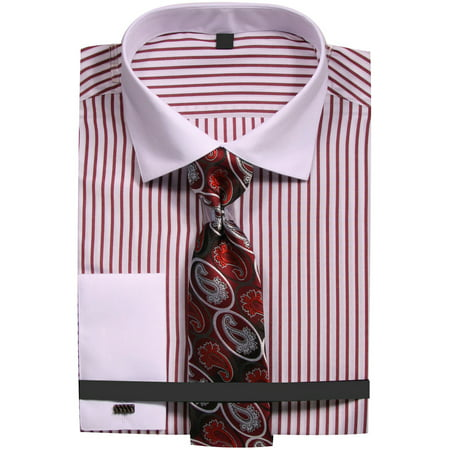 806c1ec440ca Sunrise Outlet - Men's Slim Fit Stripe Dress Shirt with French Cuffs and  Tie - Walmart.com