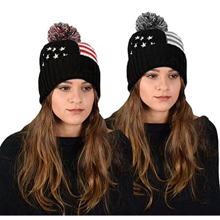 Peach Couture American Flag Pom Pom Hats Beanie Skullies Value Pack Of 2 (Black Red)