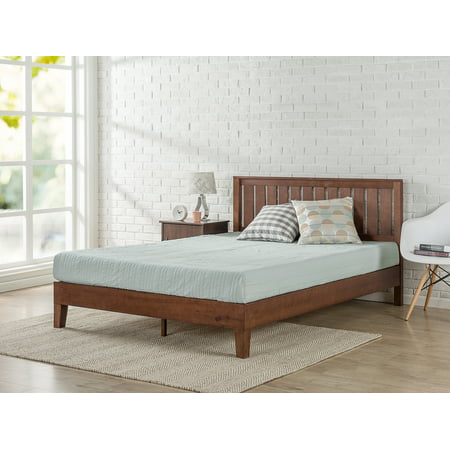 Brown Deluxe Board - Zinus Queen 12 Inch Deluxe Solid Wood Platform Bed with Headboard