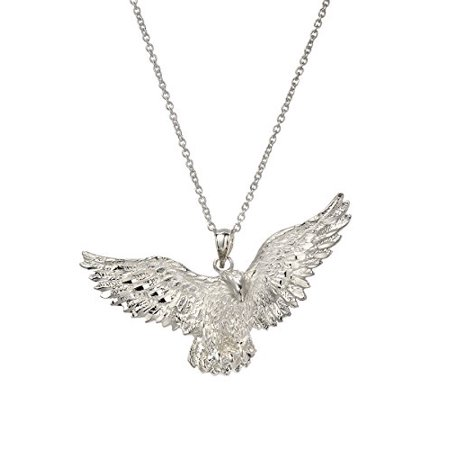 Sterling Silver American Bald Eagle Pendant Necklace, 18