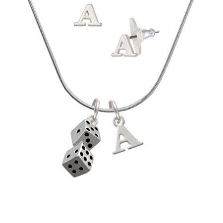Pair of Dice - A Initial Charm Necklace and Stud Earrings Jewelry Set