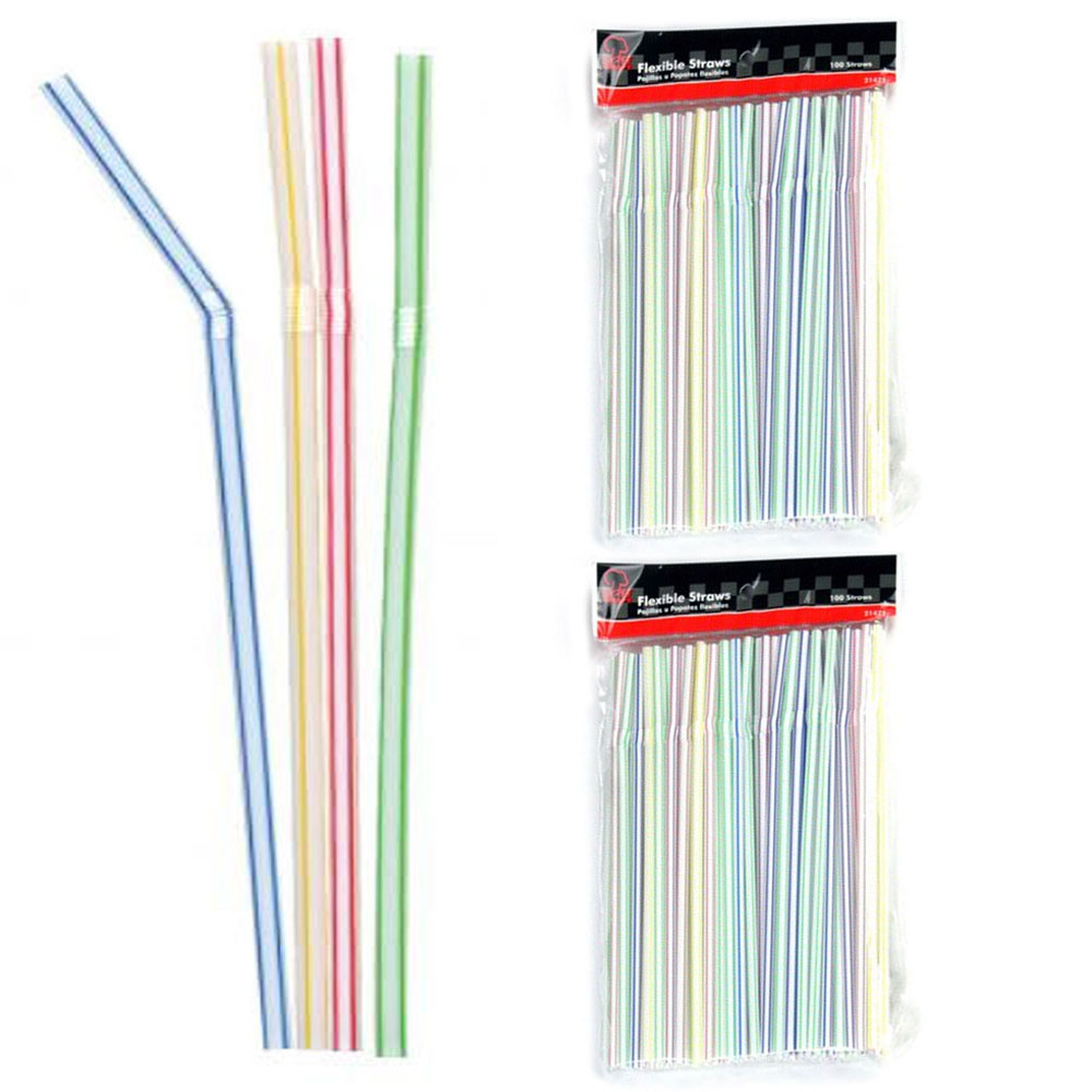 300 Pc Flexible Drinking Straws Long Plastic Bendy Party Bar Drinking Supplies