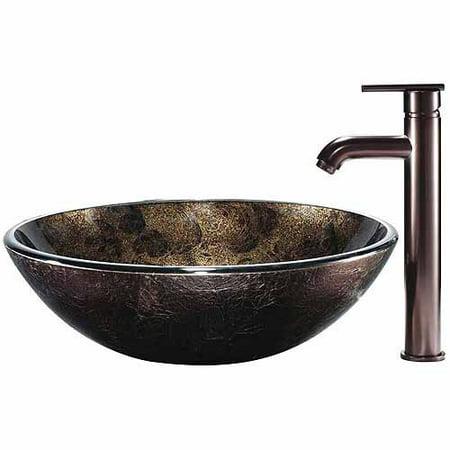 Vigo Sintra Glass Vessel Sink And Faucet
