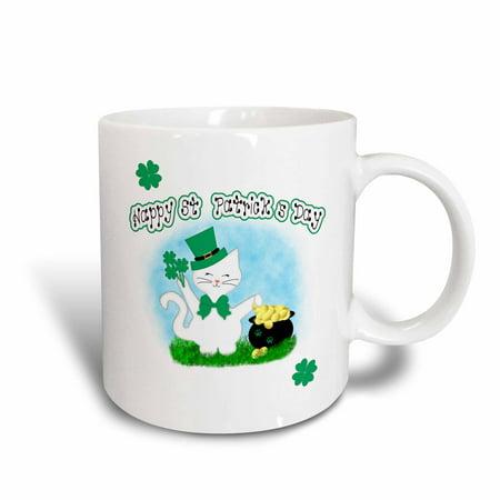 3dRose Cute White Cat Lovers - Happy St Patricks Day Pot of Gold - Ceramic Mug, 15-ounce