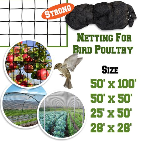 - Sunrise 50'x100' Heavy Duty Bird Netting Fruit Tree Protective Net Pens Aviary Poultry Mesh Black