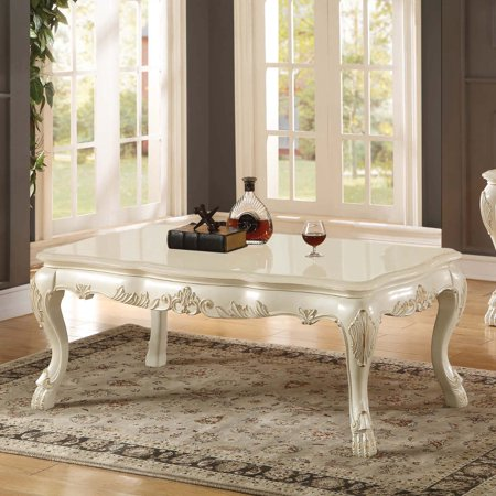 Simple Relax Chantelle Pearl White Marble Top Coffee Table Walmartcom