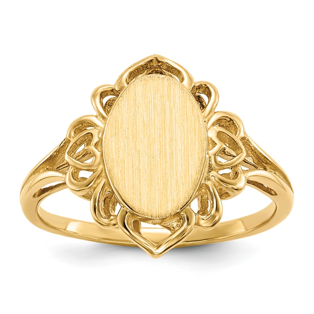 14kt Yellow Gold Signet Band Ring Size 6.00 Fine Jewelry For Women Gift Set by IceCarats Designer Jewelry Gift USA