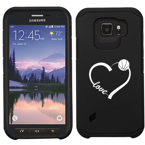 For Samsung Galaxy (S6 Active) Shockproof Impact Hard Soft Case Cover Love Heart Basketball (Black)