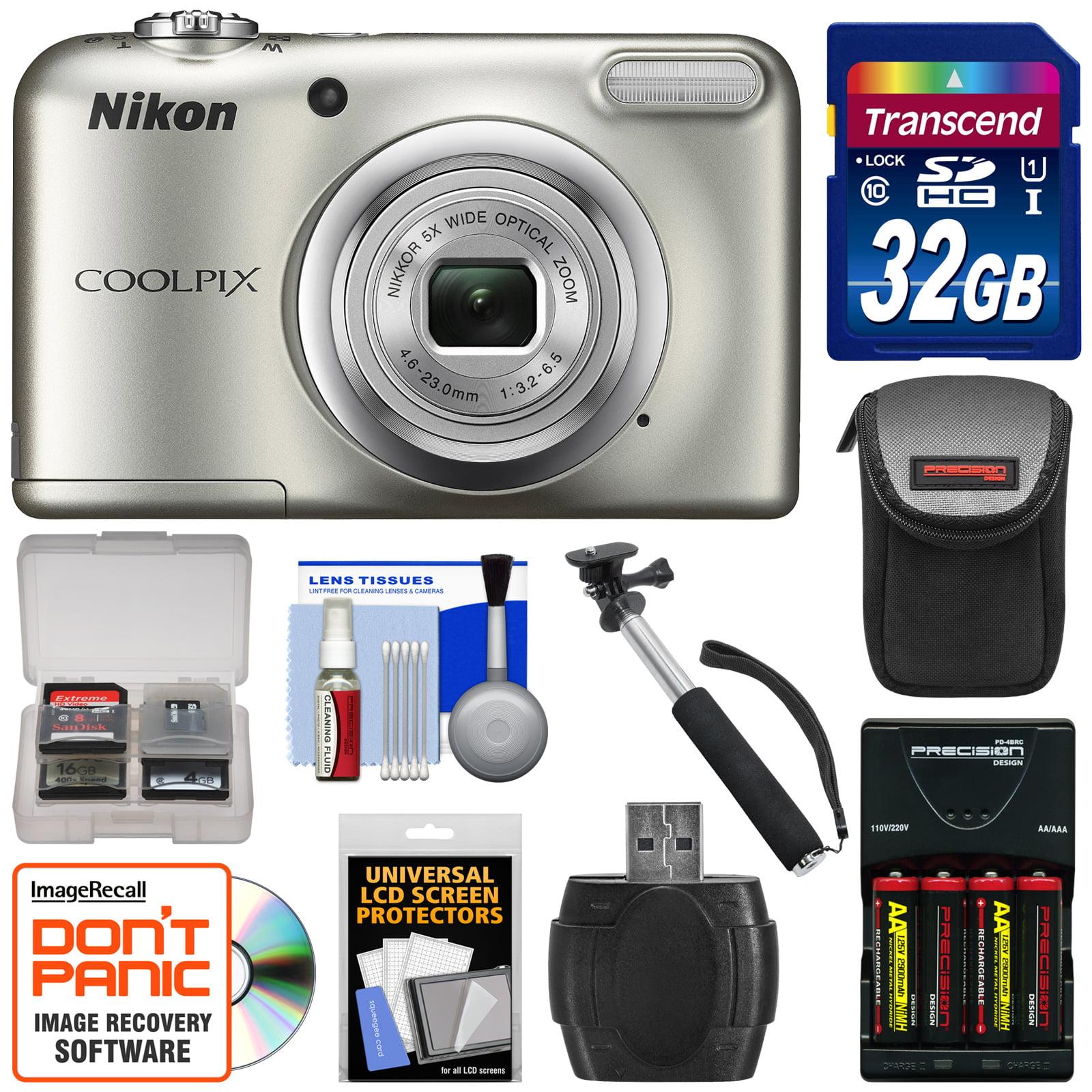 Nikon Coolpix A10 Digital Camera (Silver) with 32GB Card + Batteries &...