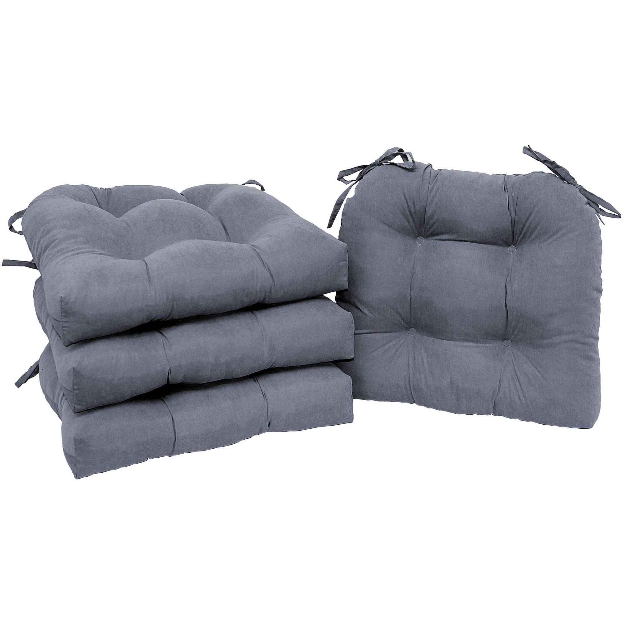 Mainstays Faux Chair Pads with Ties, Grey, 4-Pack by Brentwood