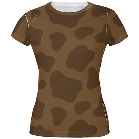 Halloween Brown Chocolate Milk Cow Costume All Over Juniors T - Milf Halloween