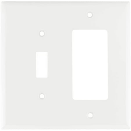 Cooper Wiring Devices 2153W-BOX Standard Size 2-Gang Thermoset Toggle and  Decorator Combo Wall Plate with Box, White Finish