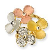 Sterling Silver CZ Gold-Plated & Rose Gold-Plated Flower Ring