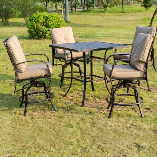 Darby Home Co Kemper 5 Piece Bar Height Dining Set with Cushions