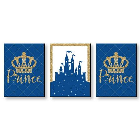 "Royal Prince Charming - Baby Boy Nursery Wall Art & Kids Room Decor - 7.5"" x 10"" - Set of 3 Prints"