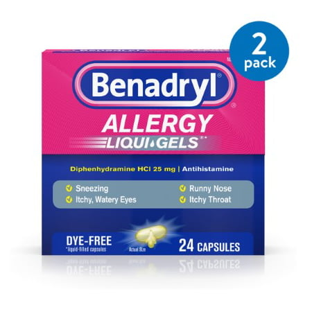 (2 Pack) Benadryl Liqui-Gels Antihistamine Allergy Medicine, Dye Free, 24