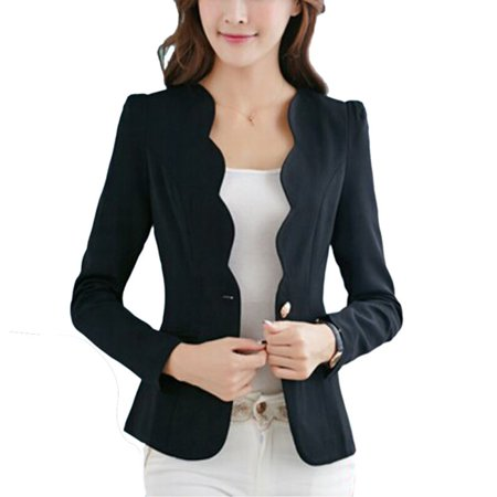 Buttoned Blazer - EFINNY Women's Formal Coat One Button Business Blazer Suit