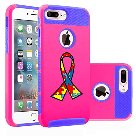 For Apple iPhone (7 Plus) Shockproof Impact Hard Soft Case Cover Autism Awareness Ribbon Puzzle Color (Hot Pink-Blue)