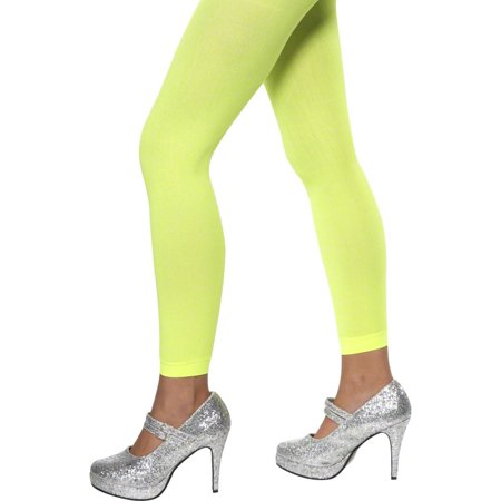 Smiffys Sexy Neon Footless Tights Green Opaque Stockings