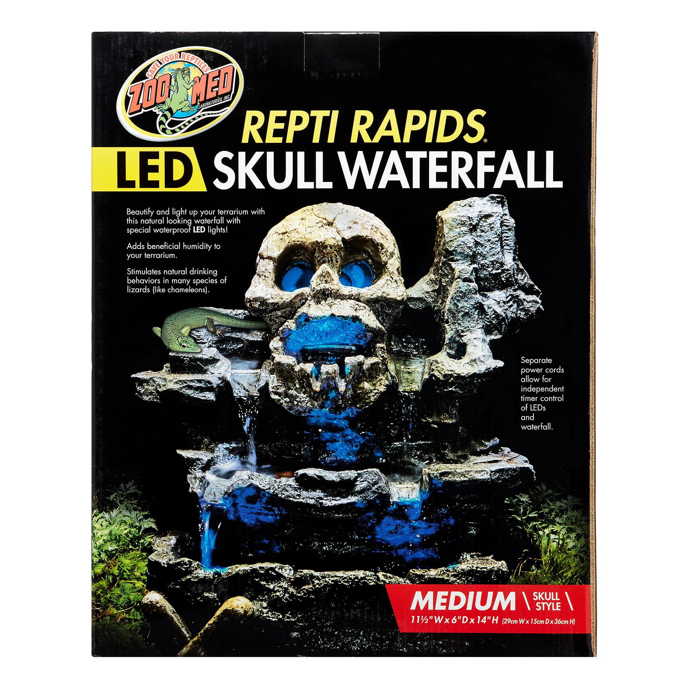 Zoo Med Repti Rapids Led Skull Terrarium Waterfall Medium