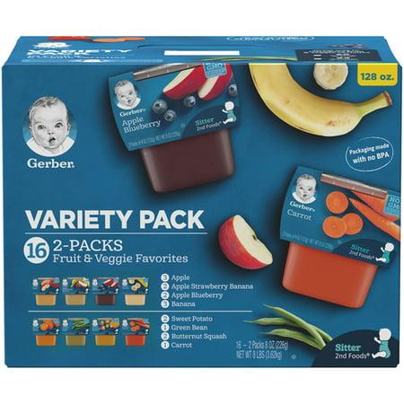 Gerber Pack - Gerber 2nd Foods Baby Food Variety Pack 8 oz Packs, 16 Count