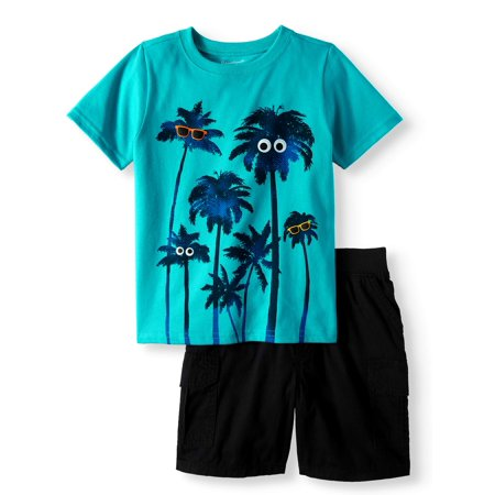 Graphic T-Shirt & Cargo Shorts, 2pc Outfit Set (Toddler Boys) - Toddler Boy Valentine Outfit