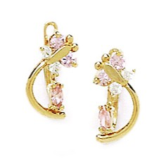 14k Yellow Gold October Pink Cubic Zirconia Bee Leverback Earrings Measures 10x5mm by