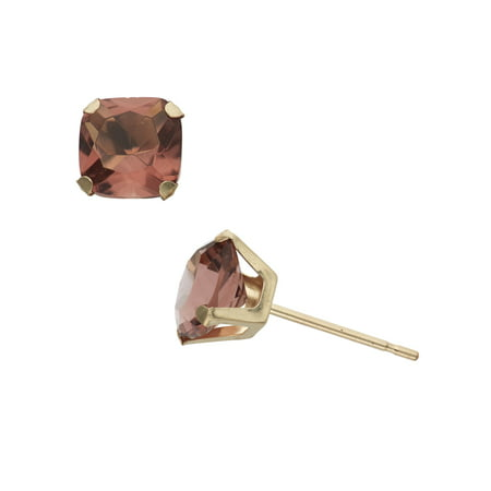 2 Carat T.G.W. Simulated Alexandrite 10kt Yellow Gold 6mm x 6mm Cushion-Cut Post Earrings