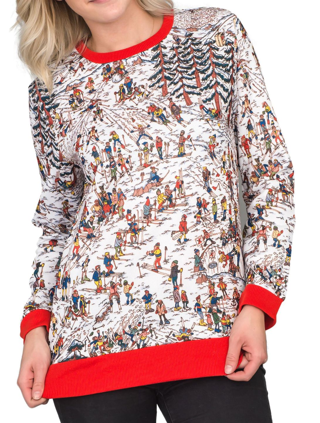 629b5c24e8 Mad Engine - Where is Waldo Snow Mountain Long Sleeve Red and White Sweater  - Walmart.com