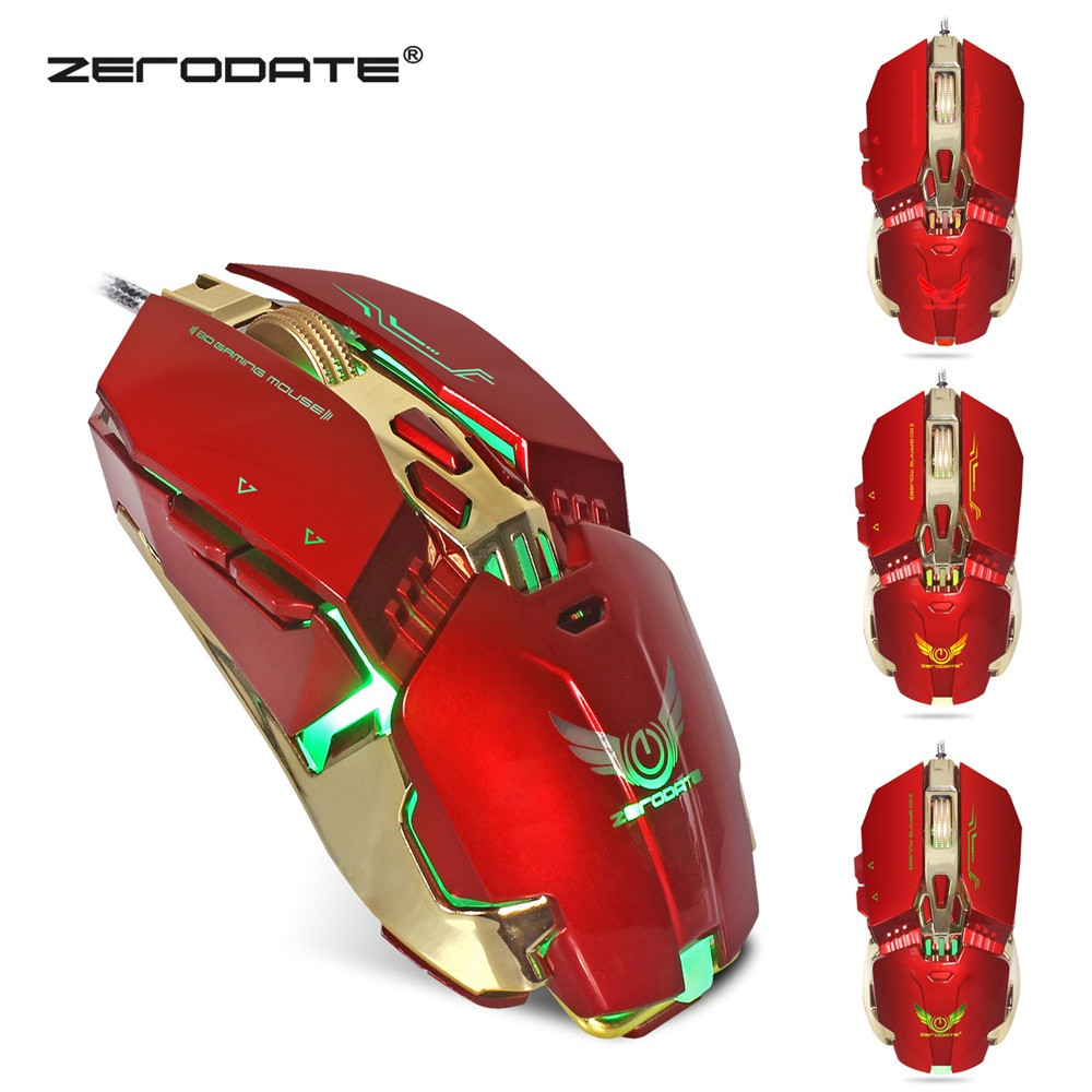 New Fashion ZERODATE X800 Wired Gaming Mouse With 4 - level adjustable DPI LED Light