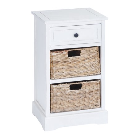 Decmode Farmhouse 28 X 16 Inch Wood And Wicker Basket Side Table