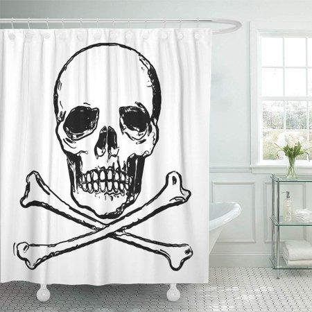 PKNMT Admonition Skull with Two Crossed Shinbone Danger of Death Alarm Alert Bone Bathroom Shower Curtains 60x72 inch