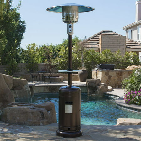 Belleze 48,000BTU Outdoor Patio Heater with Adjustable Table, Hammered Tone Bronze ()