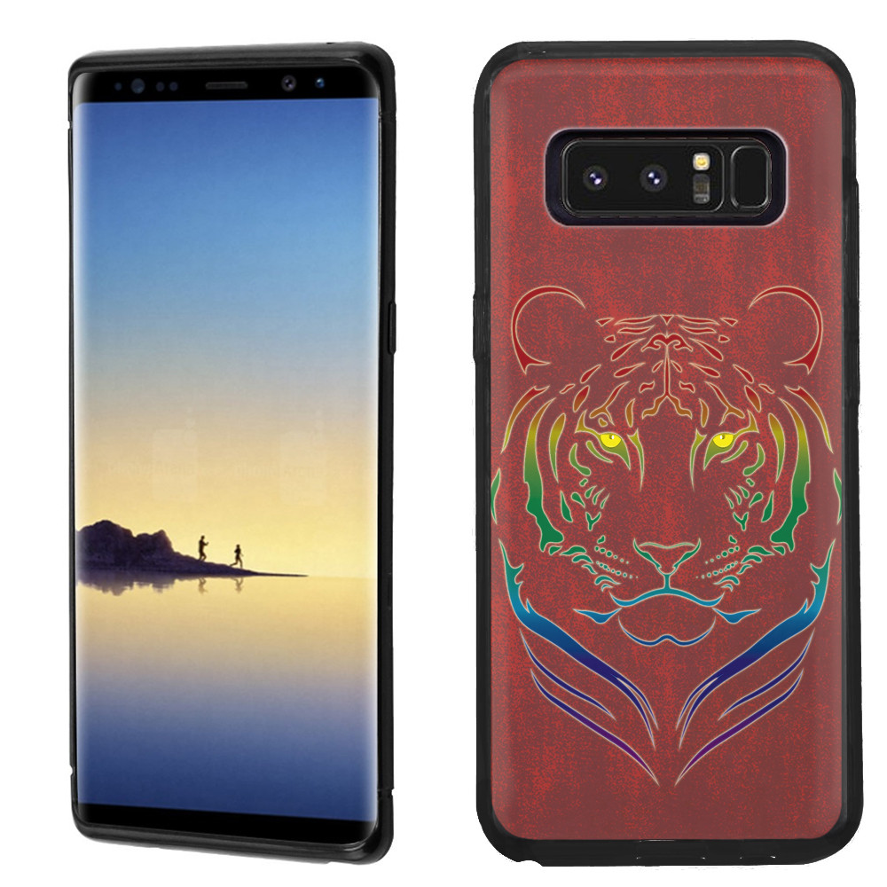 Slim-Fit case for Samsung Galaxy Note 8, OneToughShield ® TPU Gel Protector Phone Case (Black Bezel) - Night Tiger