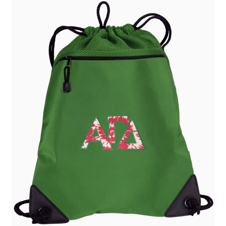 AGD Sorority Drawstring Bag TWO SECTION Alpha Gamma Delta Cinch Backpack Pack - Unique Mesh & Microfiber Sections