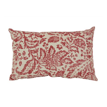 Pillow Perfect Decorative Red and Tan Damask 18.5 x 11.5 in. Rectangle Toss Pillow (Decorative Rectangle Toss Pillow)
