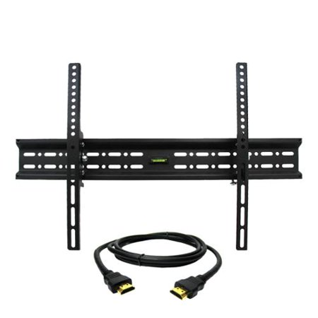 MegaMounts Tilt Wall Mount with Bubble Level for 32-70 in. Displays with HDMI Cable