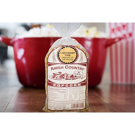 Amish Country Popcorn - Ladyfinger Popcorn - Old Fashioned, Non GMO, Gluten Free, Microwaveable, Stovetop and Air Popper Friendly (1 LB