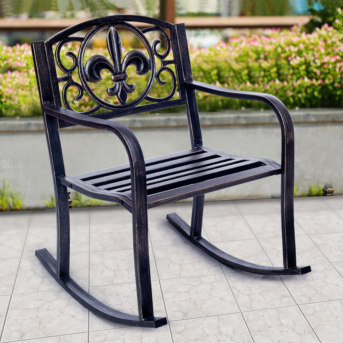 Product Image Costway Patio Metal Rocking Chair Porch Seat Deck Outdoor  Backyard Glider Rocker