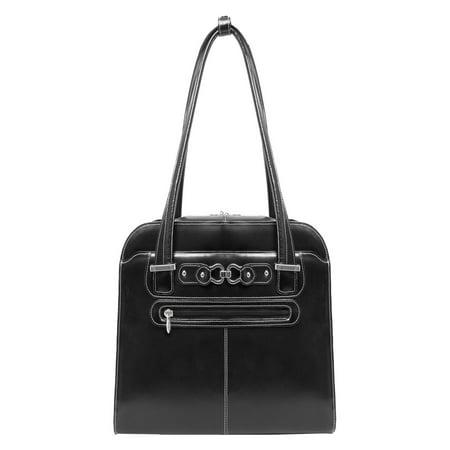 McKlein MAYFAIR, Ladies' Laptop Briefcase, Top Grain Cowhide Leather, Black (96305C)