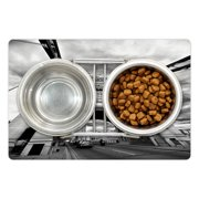 """Modern Pet Mat for Food and Water, Tower Bridge London England Urban Street Traffic European Historical Picture, Non-Slip Rubber Mat for Dogs and Cats, 18"""" X 12"""", by Ambesonne"""