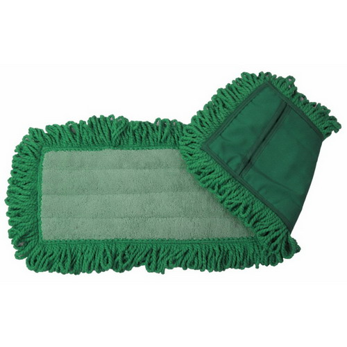 """O'Dell Mop & Broom Fringe Dry Dust Pad Green, 18"""" Length x 5"""" Width, Microfiber 