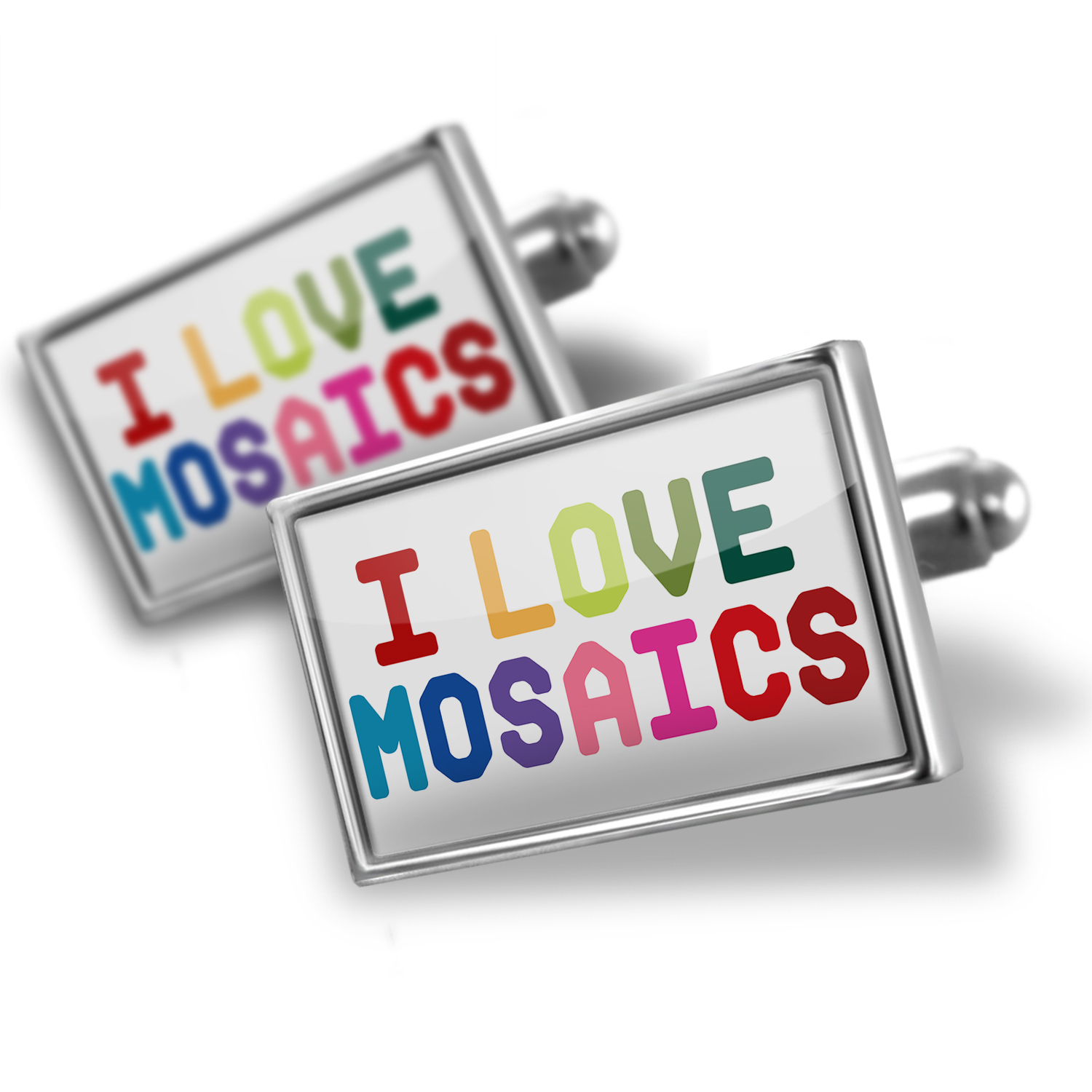 Cufflinks I Love Mosaics,Colorful - NEONBLOND