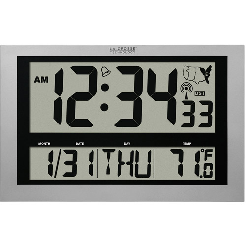 La Crosse Technology Jumbo Atomic Digital Wall Clock with IN Temperature