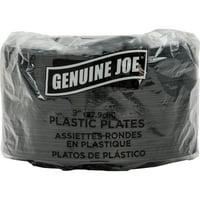 "Genuine Joe Round Plastic Black Plates, 9"", 125 pack, GJO10429"