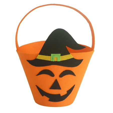 Halloween Felt Fabric Gift Bag Trick or Treat Candy Bucket with Handle Halloween Party Costumes Supplies Decorations--Pumpkin