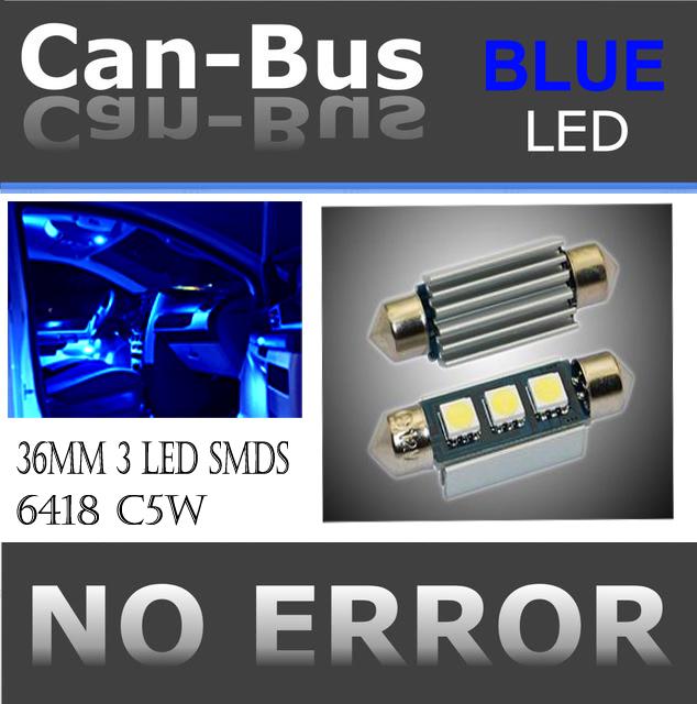 FESTOON 36 mm 3 LED BLUE COLOR  License Plate or Interior Doom Light