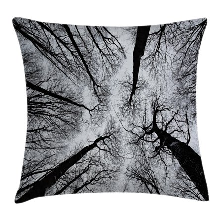 Forest Home Decor Throw Pillow Cushion Cover, Scary Winter Tops of the Trees Dark Dramatic Silhouettes Enchanted Image, Decorative Square Accent Pillow Case, 16 X 16 Inches, Black Grey, by Ambesonne